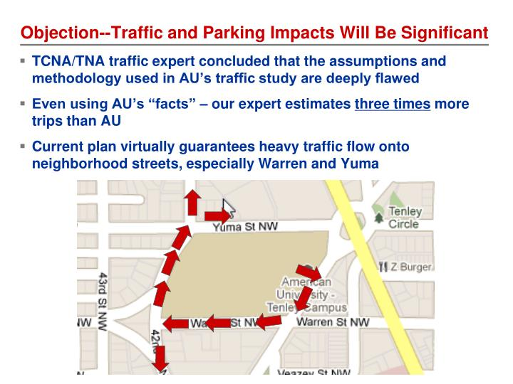 Objection--Traffic and Parking Impacts Will Be Significant