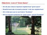 objections loss of green space