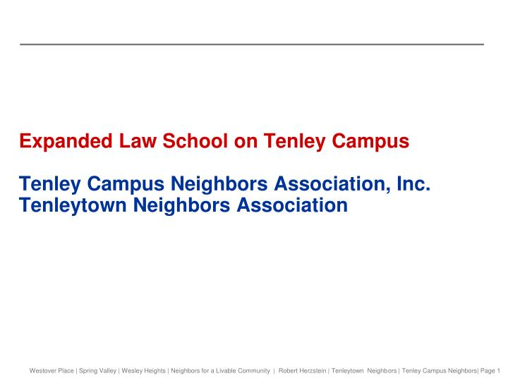 Expanded Law School on Tenley Campus