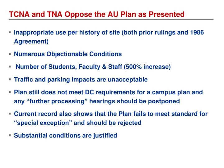 TCNA and TNA Oppose the AU Plan as Presented
