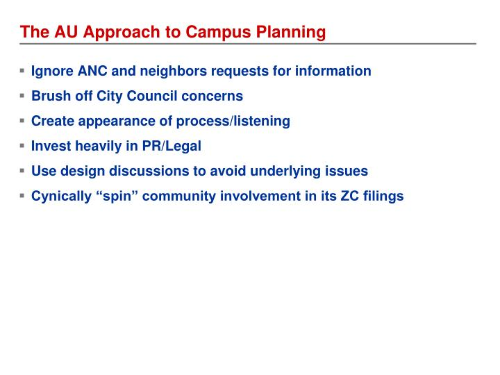 The AU Approach to Campus Planning