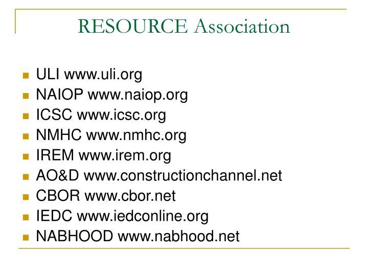 RESOURCE Association
