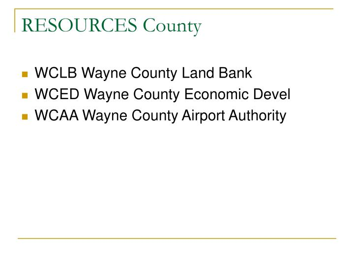 RESOURCES County