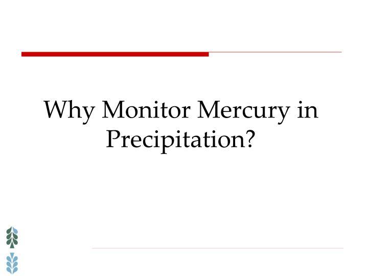 Why Monitor Mercury in Precipitation?