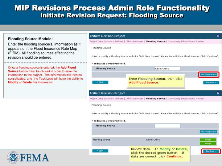 MIP Revisions Process Admin Role Functionality