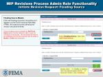 mip revisions process admin role functionality initiate revision request flooding source