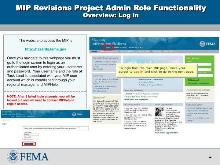 Mip revisions project admin role functionality overview log in