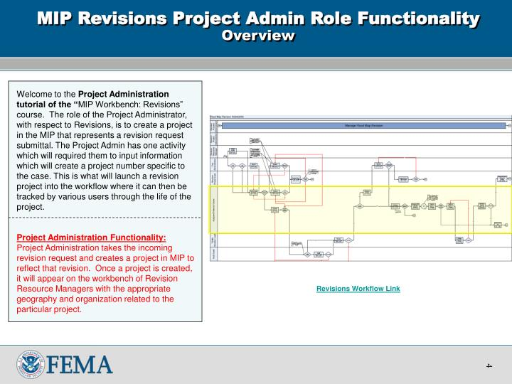 Mip revisions project admin role functionality overview