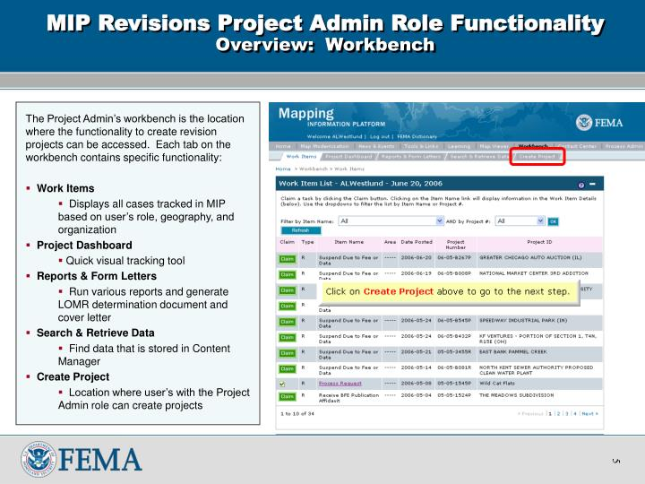 MIP Revisions Project Admin Role Functionality