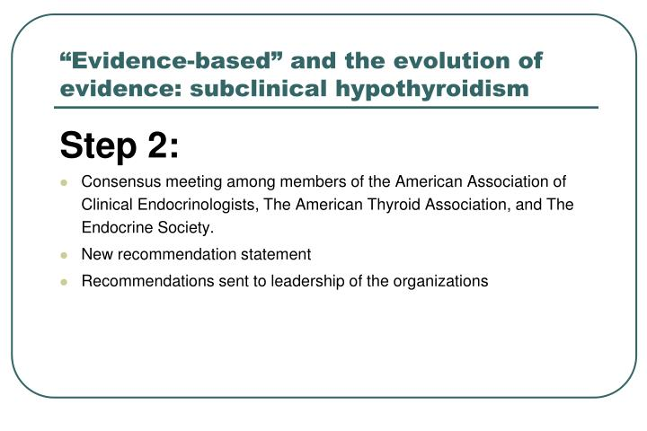 """""""Evidence-based"""" and the evolution of evidence: subclinical hypothyroidism"""
