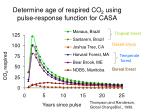 determine age of respired co 2 using pulse response function for casa