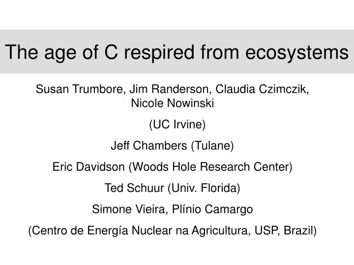 The age of C respired from ecosystems