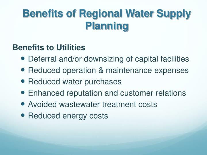 Benefits to Utilities