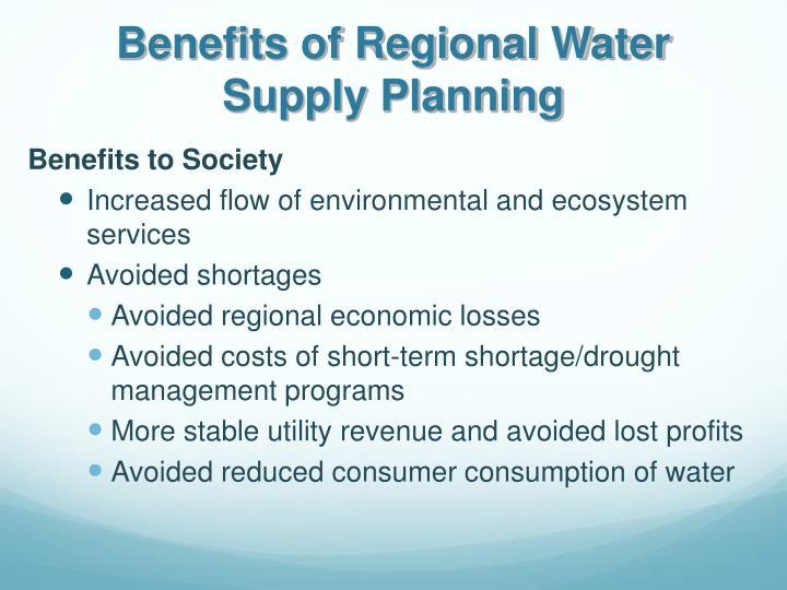 Benefits of Regional Water Supply Planning