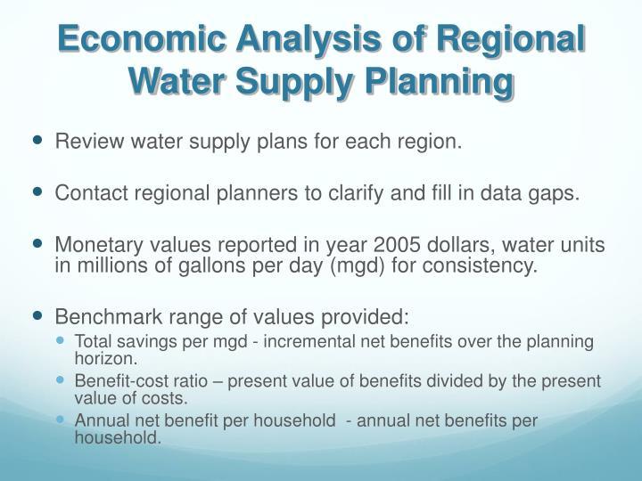 Economic Analysis of Regional Water Supply Planning