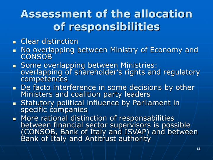 Assessment of the allocation of responsibilities