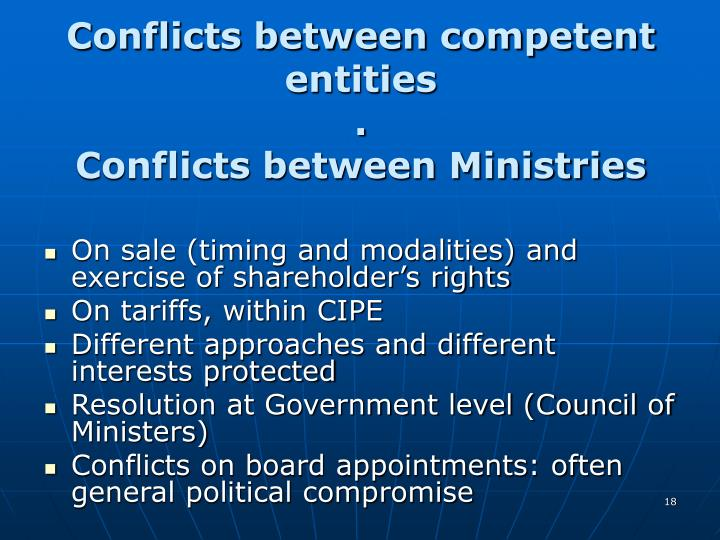 Conflicts between competent entities