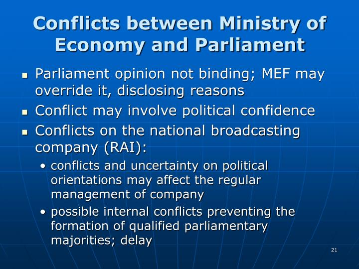Conflicts between Ministry of Economy and Parliament