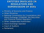 entities involved in regulation and supervision of soes