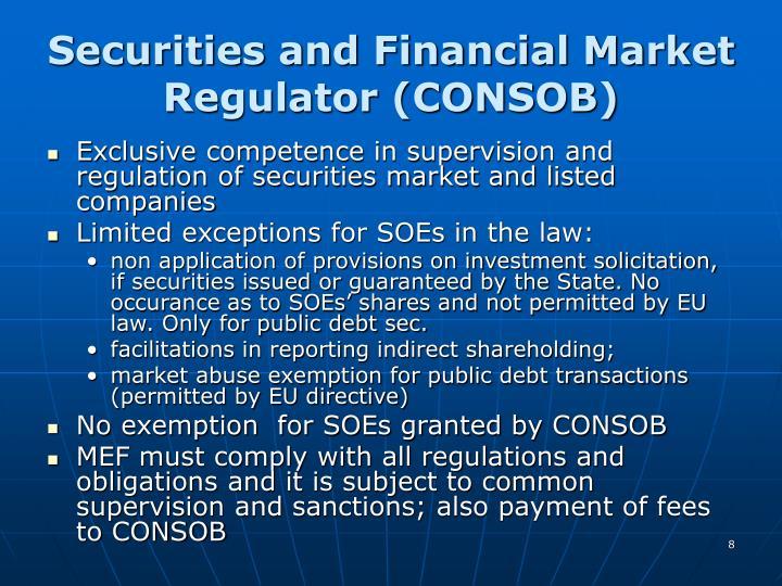 Securities and Financial Market Regulator (CONSOB)