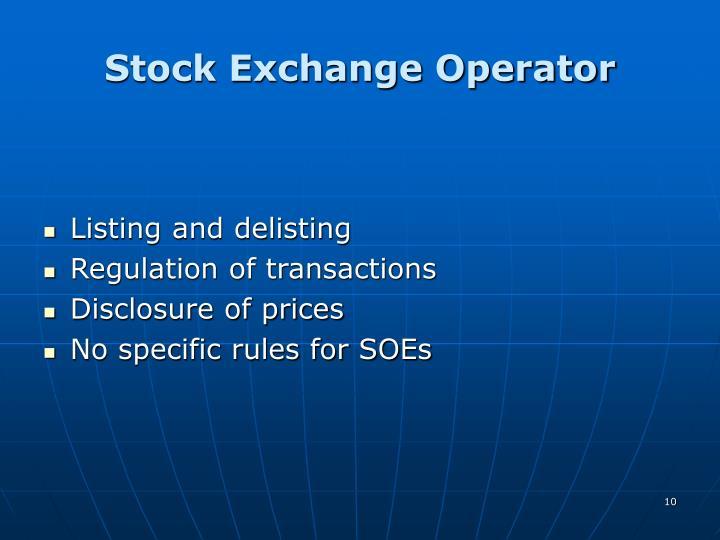 Stock Exchange Operator