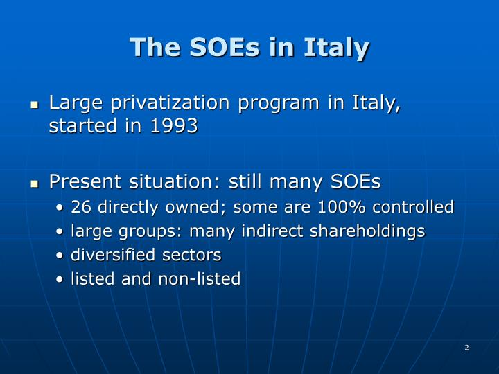 The SOEs in Italy