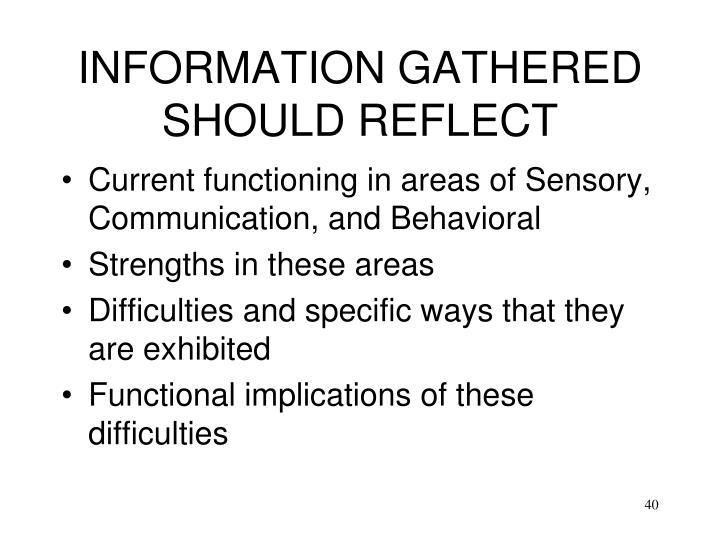 INFORMATION GATHERED SHOULD REFLECT