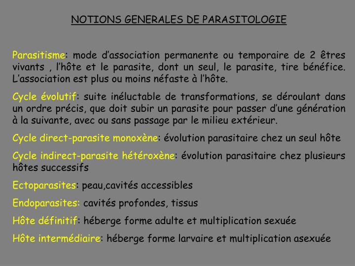 NOTIONS GENERALES DE PARASITOLOGIE