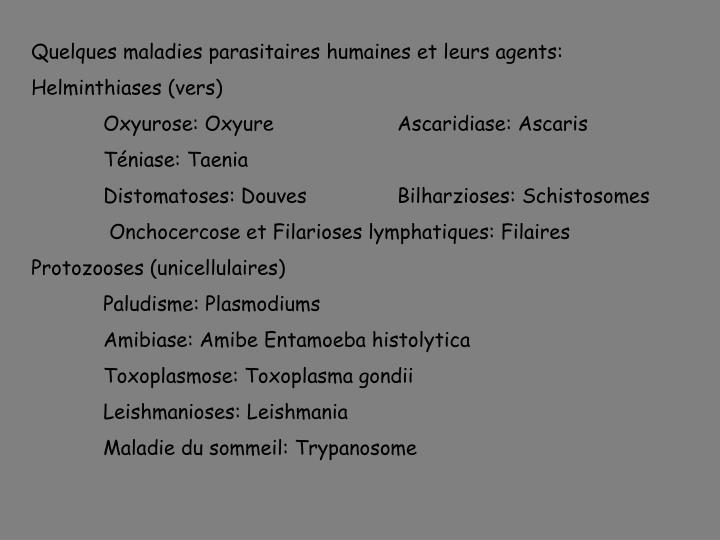 Quelques maladies parasitaires humaines et leurs agents: