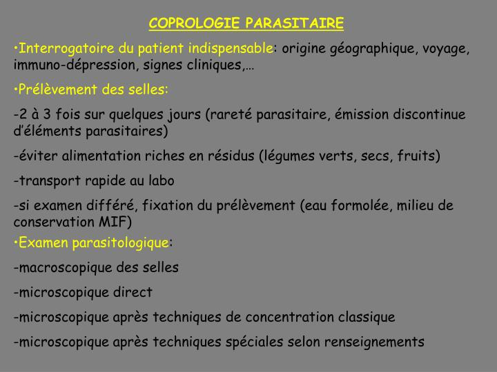 COPROLOGIE PARASITAIRE