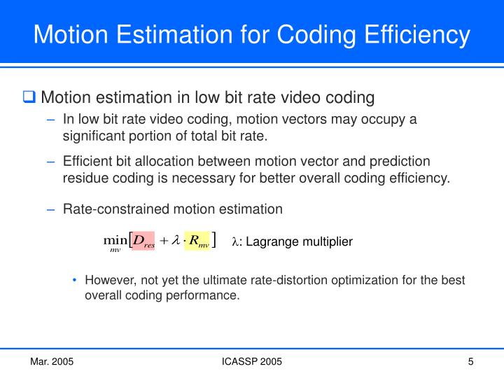 Rate-constrained motion estimation