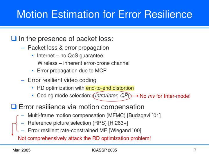 Error resilient video coding