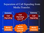 separation of call signaling from media transfer