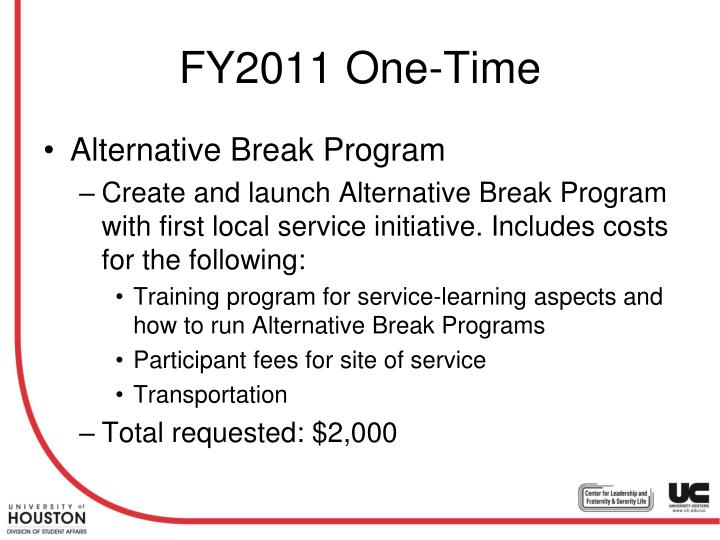 FY2011 One-Time