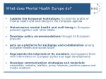 what does mental health europe do