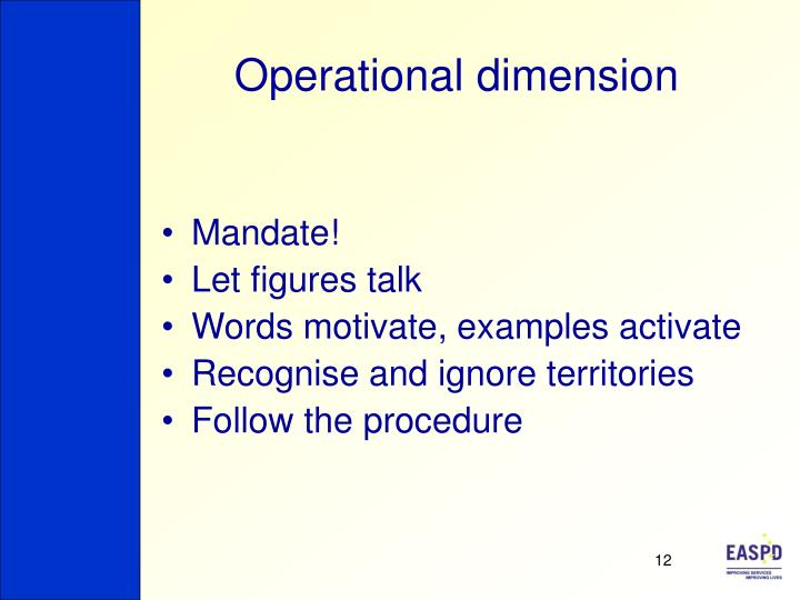 Operational dimension
