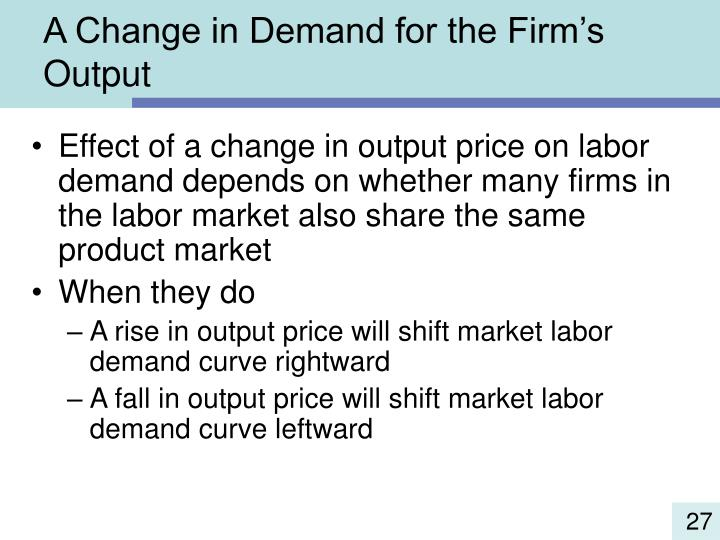 A Change in Demand for the Firm's Output