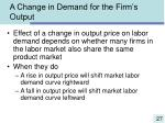 a change in demand for the firm s output