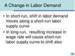 a change in labor demand