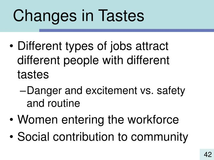 Changes in Tastes