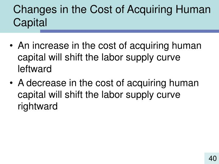 Changes in the Cost of Acquiring Human Capital