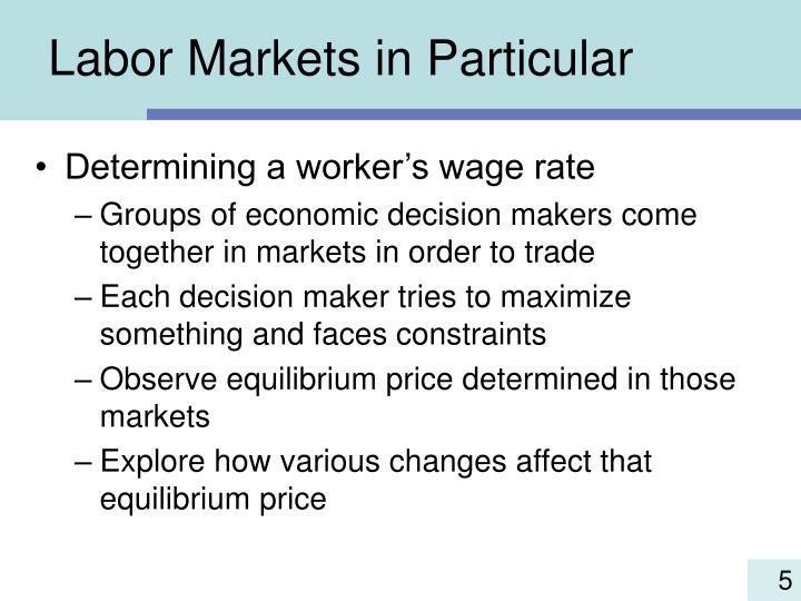 Labor Markets in Particular