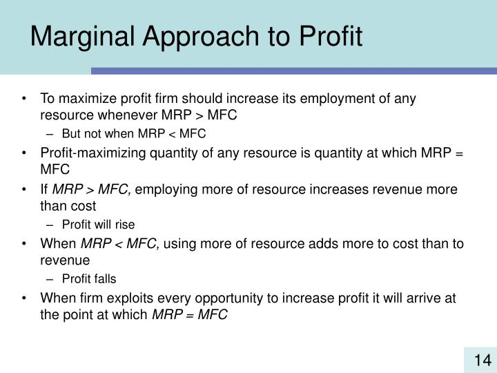 Marginal Approach to Profit