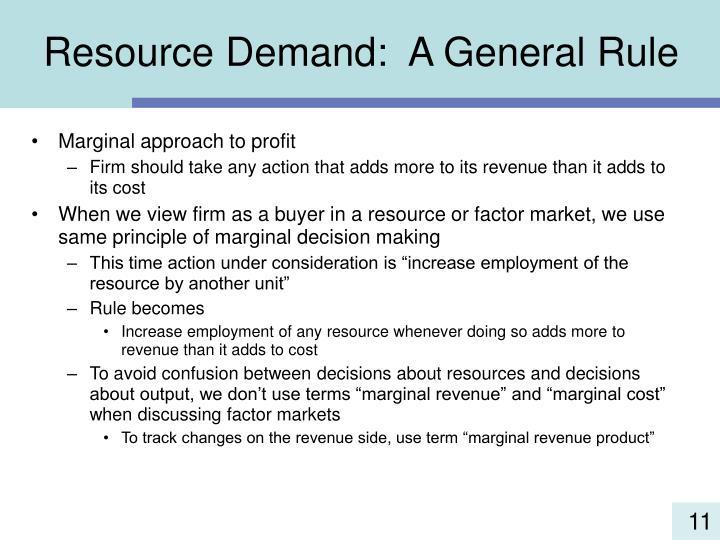 Resource Demand:  A General Rule