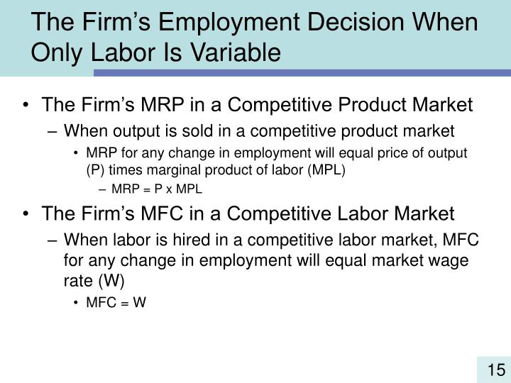 The Firm's Employment Decision When Only Labor Is Variable
