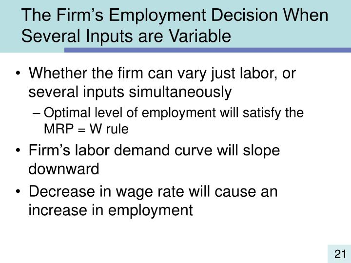 The Firm's Employment Decision When Several Inputs are Variable