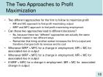 the two approaches to profit maximization