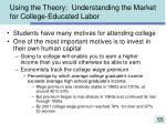 using the theory understanding the market for college educated labor