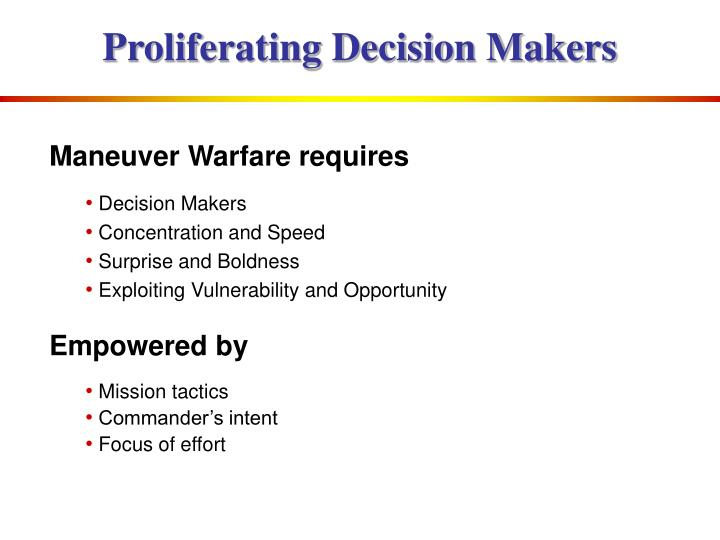 Proliferating Decision Makers