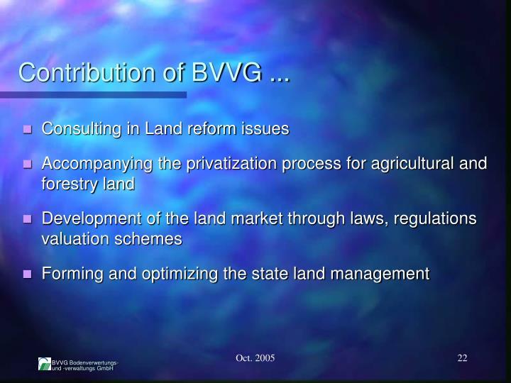 Contribution of BVVG ...